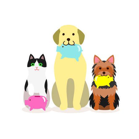 clip art cost: Small group of dogs and cat with piggy bank
