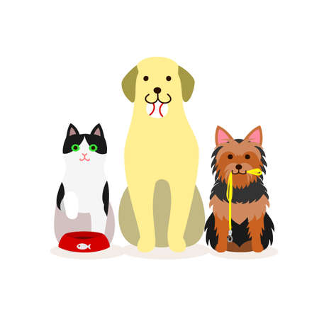 Small group of dogs and cat illustration Illustration