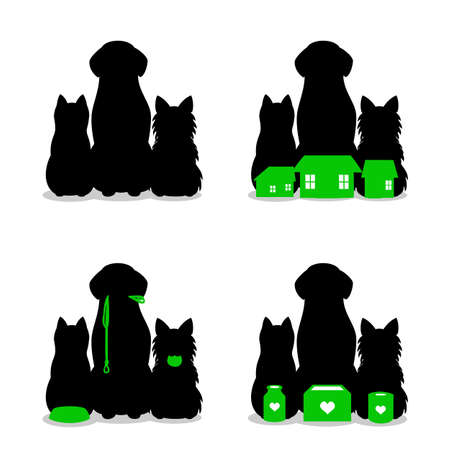 set of Small group of dogs and cat silhouette Illustration