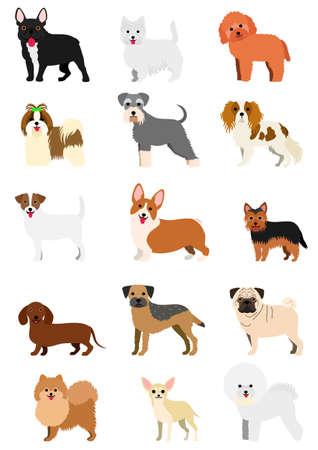 小型犬の品種セット  イラスト・ベクター素材