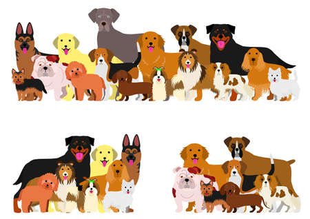 dogs group border set Vectores