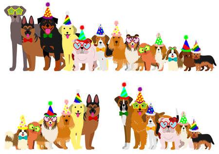 高さの順に並べられて犬の境界線