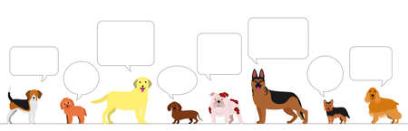 standing dogs with speech bubbles border