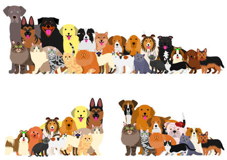 Border of dogs and cats arranged in order of height  イラスト・ベクター素材