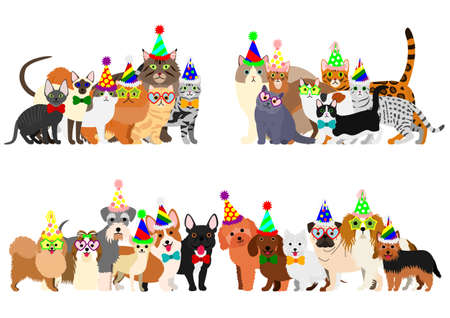 cats and small dogs group border set  イラスト・ベクター素材