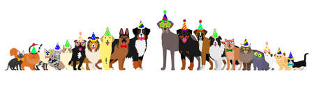 siamese: Border of dogs and cats arranged in order of height Illustration