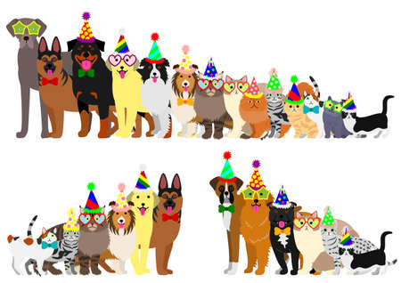 Border of dogs and cats arranged in order of height Vectores