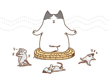 ネコの瞑想  イラスト・ベクター素材