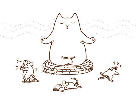 minded: Meditating cat.