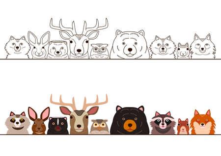 Woodland animals border set.