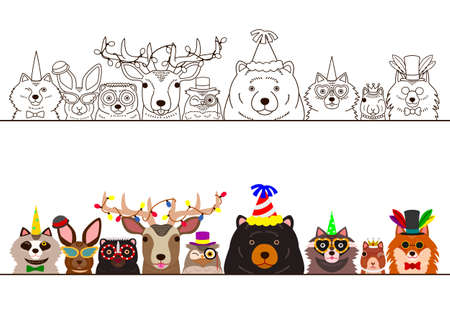 Woodland animals in party fashion border set