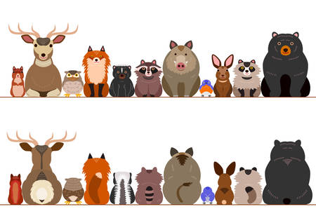 Conjunto de la frontera de los animales del bosque Foto de archivo - 77354003