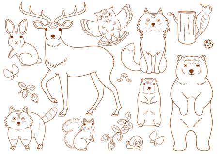 sitting on the ground: woodland animals elements set Illustration