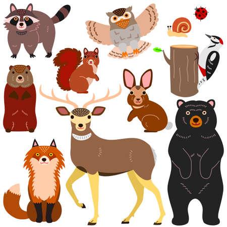 woodland animals elements set Vettoriali