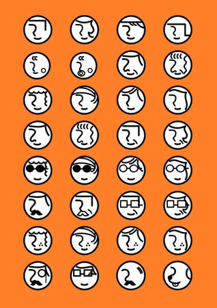 People face icon set