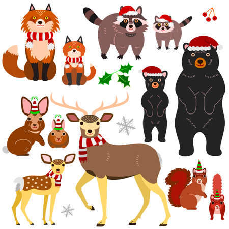 Woodland animals parents and babies Christmas elements set, isolated on white