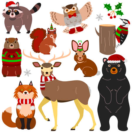 woodland animals Christmas elements set Illustration