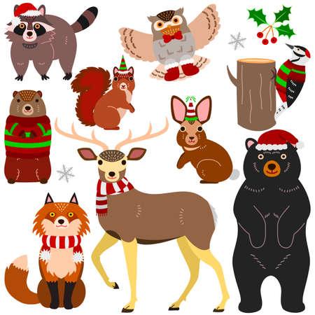 woodland animals Christmas elements set 向量圖像