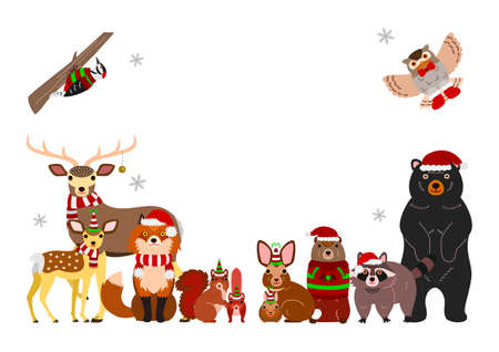 Woodland animals Christmas background, isolated on white Illustration