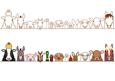 Farm animals border set vector illustration.