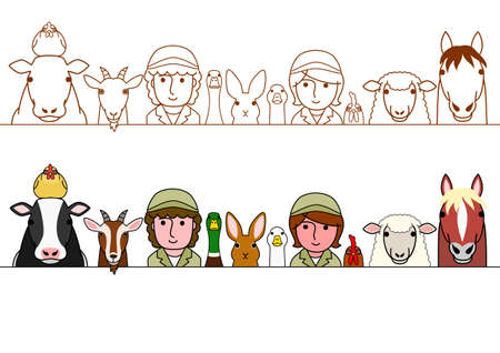 staff and farm animals border set Illustration