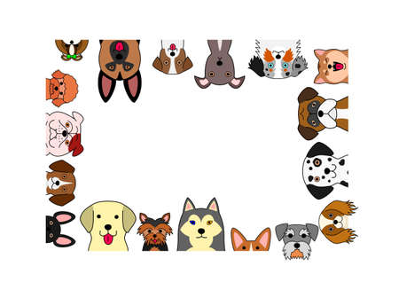 Cute dogs rectangle frame.