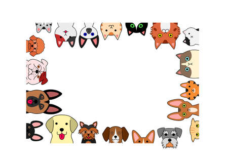 Cute dogs and kittens rectangle frame.