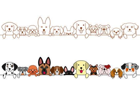 귀여운 강아지 테두리 집합입니다. 스톡 콘텐츠 - 81348662