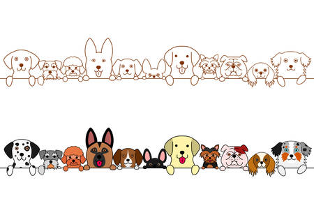 Cute dogs border set.