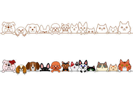 Cute kitten and dogs border set.