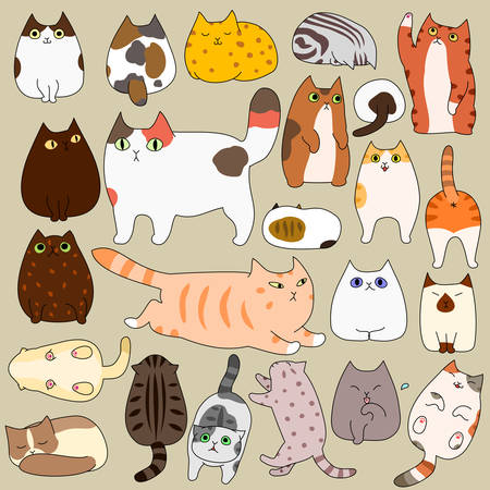 cute cats posing doodle set