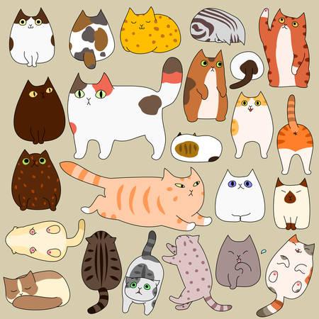 Schattige katten die doodle set stellen