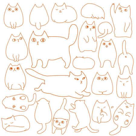 かわいい猫ポーズ落書きライン アートを設定します。