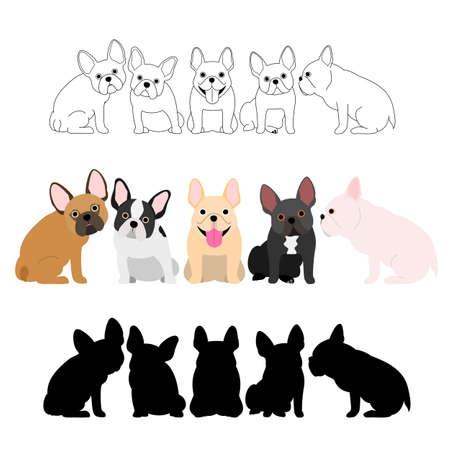 Conjunto de bulldog francés grupo Foto de archivo - 83386206