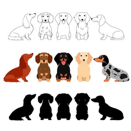 Set van teckel groep Stock Illustratie