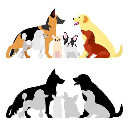 set of dog group Illustration