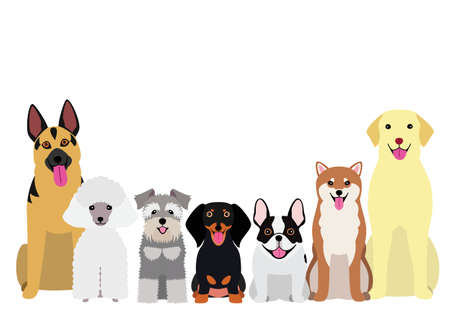 smiling dogs group 向量圖像
