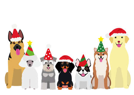 smiling dogs with Christmas party hat Illustration