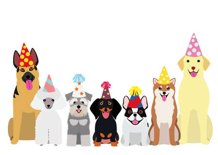 smiling dogs with party hat