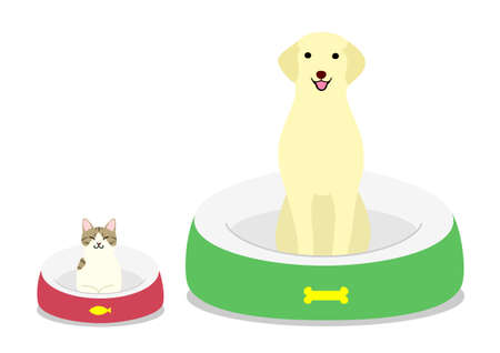dog sitting comfortably in each bed Illustration