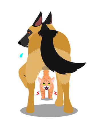 Cat hissing at a dog Иллюстрация