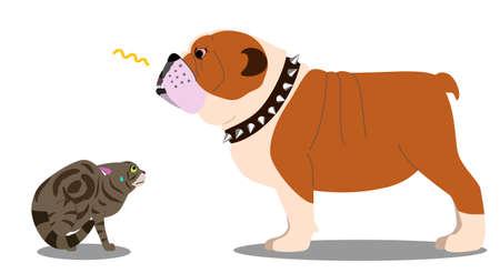 Dog threatening cat