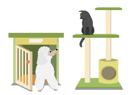 Illustration of dog and cat sitting in their house.
