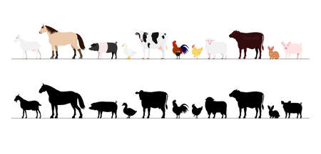 Farm animals border set Vectores