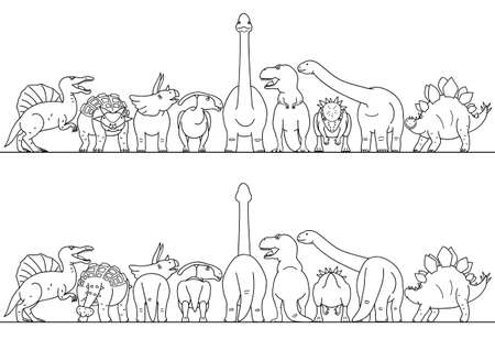 dinosaur line art border