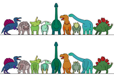colorful dinosaur border Vettoriali