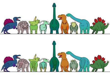 colorful dinosaur border Vectores