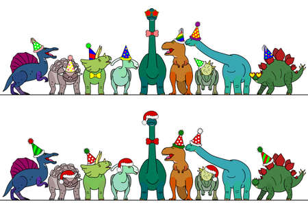 colorful dinosaur with party hat border