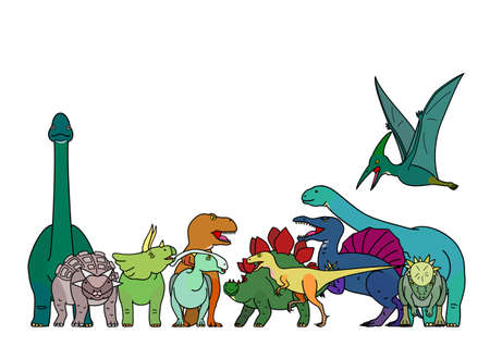colorful dinosaur group