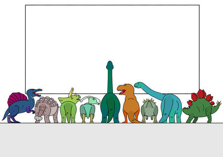 group of dinosaur looking at white board